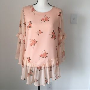 Lauren Conrad Pink Floral Print Top / Size Medium
